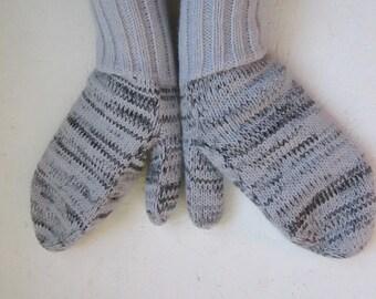 multicolor winter Knitted  Mittens, winter gloves  wrist warmers, women winter gray mittensg ray dark gray mittens winter accessories