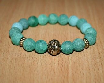 Frosted Agate Stretch Bracelet. Green agate bracelet.