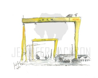 """Harland and Wolff ORIGINAL piece of art, painted in watercolour A4 8""""x10"""". Belfast, NI, Northern Ireland, Irish, H&W, samson and goliath"""