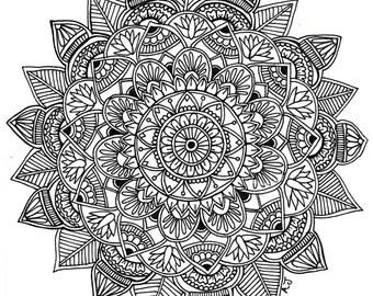 Mandala 8.5x11 ink drawing, card-stock print