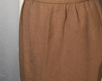 Vintage Camel Hair Pencil Lined Skirt 10 Small S with Pockets Gathered Waist 80s Eighties Tan Beige