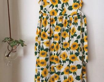 sunflower day dress 90's retro handmade
