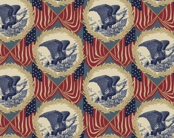 One Yard Let Freedom Ring - Eagle Medallion in Multi - Patriotic Cotton Quilt Fabric - by Nancy Gere for Windham Fabrics - 40947-X (W3036)