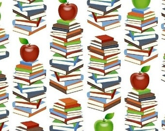 One Yard Educators - Book Stacks in White - Cotton Quilt or Sewing Fabric - Windham Fabrics - 39023-2 (W3086)