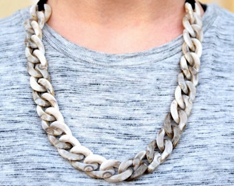 Acrylic Marbled Coffee and Cream or Seashell Chain Necklace with Black Suede Cord