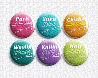 Knitting Puns 6 Pack - Pinback Badge / Magnets / Sticky