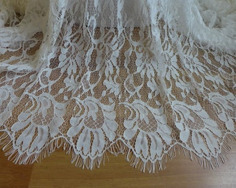 Embroidered Corded Bridal Lace Fabric in Off white for Bridal dress, Wedding ceremony gown, Costumes