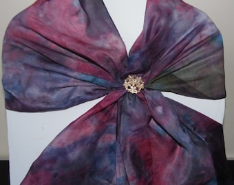 Hand Painted Silk Scarf maroon and violet .