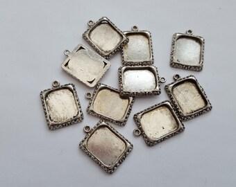 Photo frame setting pendant antique silver 18x25mm 10pc bezel tray