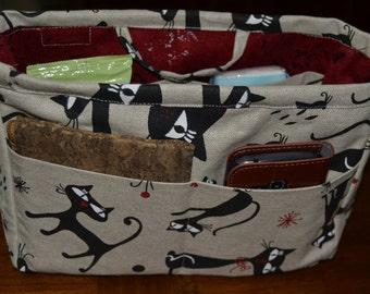 fabric bag organizer/pouch organizer/ Insert handbag organizer/purse organizer insert/fabric organizer with cats/fabric organizer