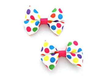Polka Dot Hair Bows, Polka Dot Bows, Polka Dot Hair Clips, Polka Dot Hairbows, Polka Dot Baby, Pigtail bows, Pigtail Pairs, Summer Hair Bows
