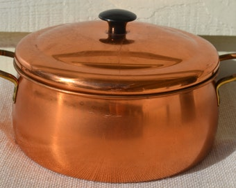 Sale: Vintage Copper Covered Aluminum Dutch Oven with Lid