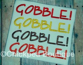 Embroidery Design: Gobble Gobble Gobble Gobble Thanksgiving Instant Download 4x4, 5x7 Hoops