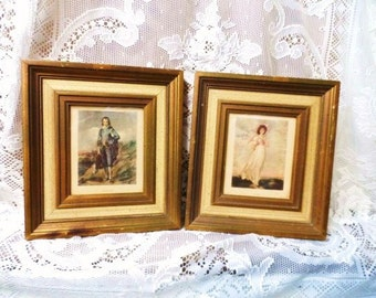 "Wood Framed Pictures-Matching Pair of 9.5"" x 10.5"" Vintage Italian Picture Frames-Old Prints-Blue Boy and Pinkie-T. Laurence-T. Gainsborough"