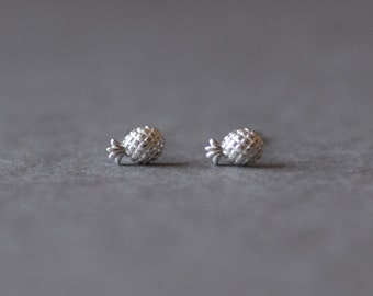 Silver Tiny Mini Pineapple Stud Earrings -Sterling Silver [SE1019]