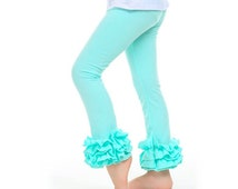 Girls Icing Ruffle Leggings, Icings, Persnickety pants, ruffle pants, toddler ruffle pants, , aqua ruffle leggings, pink ruffle leggings