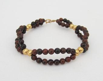 Vintage 14K Solid Yellow Gold Natural Bloodstone Bead Bracelet 7'' Length