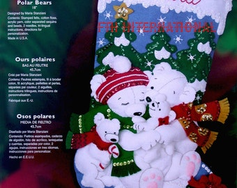 "Bucilla Polar Bear ~ 18"" Felt Christmas Stocking Kit #85311 Baby Bears Family DIY"