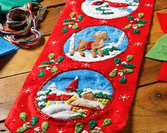 Bucilla Happy Holidays ~ Felt Christmas Wall Hanging Kit #86684, Church, Deer DIY