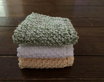 KNITTED WASH CLOTHs - 3 pk Butter Yellow/White/Varigated Green-White  - Cotton Simple