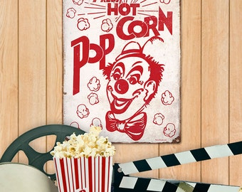 Popcorn Circus Clown Metal Sign - #37108