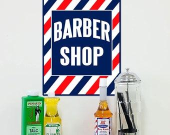 Barber Shop Diagonal Stripes Metal Sign - #58435