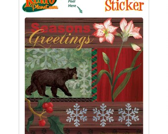 Christmas Bear Collage Holiday Vinyl Sticker - #65684