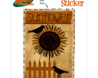 Sunflower Birds and Fence Vinyl Sticker - #70957