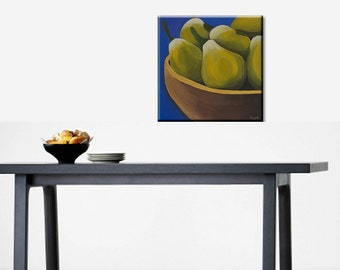 Kitchen decor.Original Painting on Canvas. Acryl. Wall art. 15.6''x15.6''. Pears