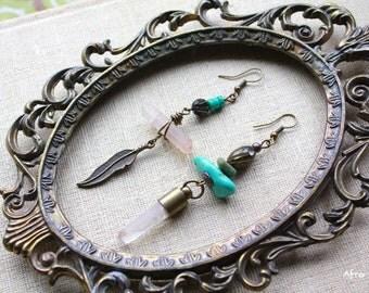 La Nube bohemian gypsy tribal quartz asymmetrical earrings