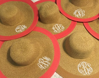 Personalized Wide Brim Hats - Coral - Wide Brim Hats - Kentucky Derby