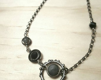 Necklace, Ionized Hematite and Labradorite with Silver-Plated Chain