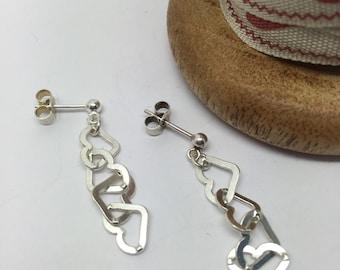 Sterling Silver Linked Heart Stud Earrings