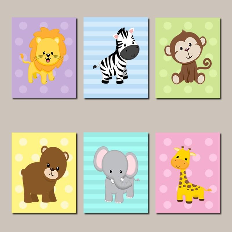 Jungle Wall Decor For Nursery : Jungle nursery wall art animals elephant giraffe