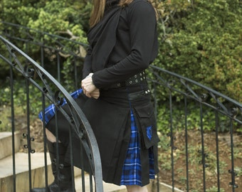 Admiral Hybrid V-Kilt - Modern Utility Kilt with Custom Tartan Pleats and Cargo Pockets