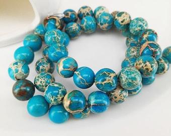 Full Strand 47pcs 8mm Smooth Round Ocean Blue Sediment Imperial Jasper Beads Emperor Jasper Beads