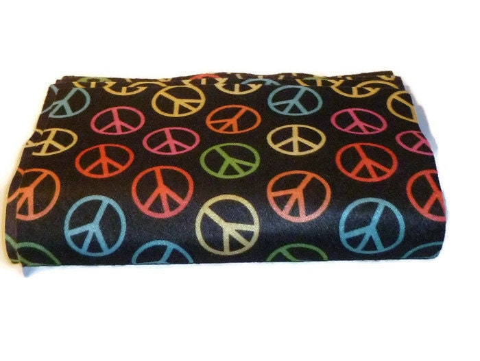 Printed felt rectangles peace sign fabric fieltro black for Felt arts and crafts