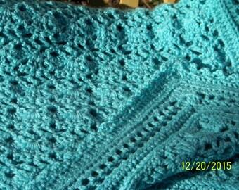 "Large Aruba Sea (light aqua) crochet blanket, adult sized (45"" x 68"")"