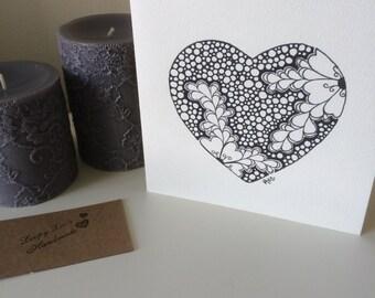 Heart & Flower Card Original