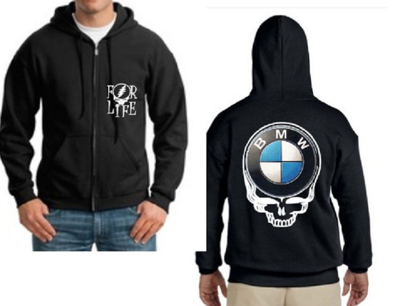 Custom Bmw Zip Up Gildan Hoodie In Black Bmw By