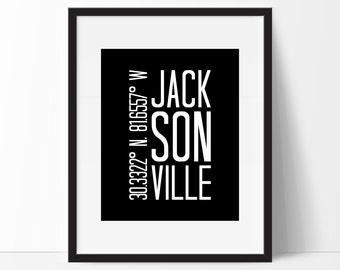 Jacksonville Art Print, Jacksonville Florida, Jacksonville Decor, City Art, Jacksonville Coordinates, Florida Wall Art, Jacksonville FL