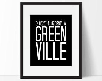 Greenville Art Print, Greenville South Carolina Art, City Art, Greenville Coordinates, Typography, Black & White Art