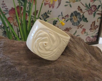 Wide chunky Lucite white  vintage bangle