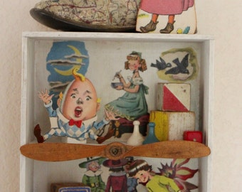 The Nursery Rhyme Box - Found Object Assemblage