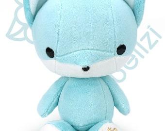 "Bellzi® Cute Stuffed Animal ""Teal"" w/ White Contrast Fox Plushie Doll - Foxxi"