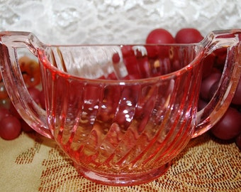 Imperial Glass Ohio 1920's Pink Glass Twisted Optic Open Sugar Bowl