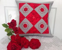"""Red Roses Patchwork Cushion Cover Size 16"""" by 16"""" Roses Pillow Cover, Cushion Covers Australia, Patchwork Cushion Cover, Gifts for Mom / Mum"""