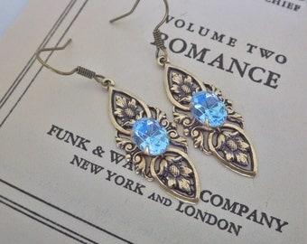 Aquamarine Earrings ~ Art Deco Style ~ Swarovski Crystal ~ Art Nouveau ~ Vintage Style ~ Turquoise Tiffany ~ by LadyofTheLakeJewels