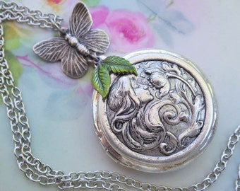 Silver Butterfly ~ Locket Necklace ~ Art Nouveau ~ Silver Cameo Locket ~ Cameo Locket Pendant ~ Antiqued Silver ~ by LadyofTheLakeJewels