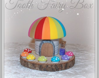 Wooden Rainbow Tooth Fairy Box